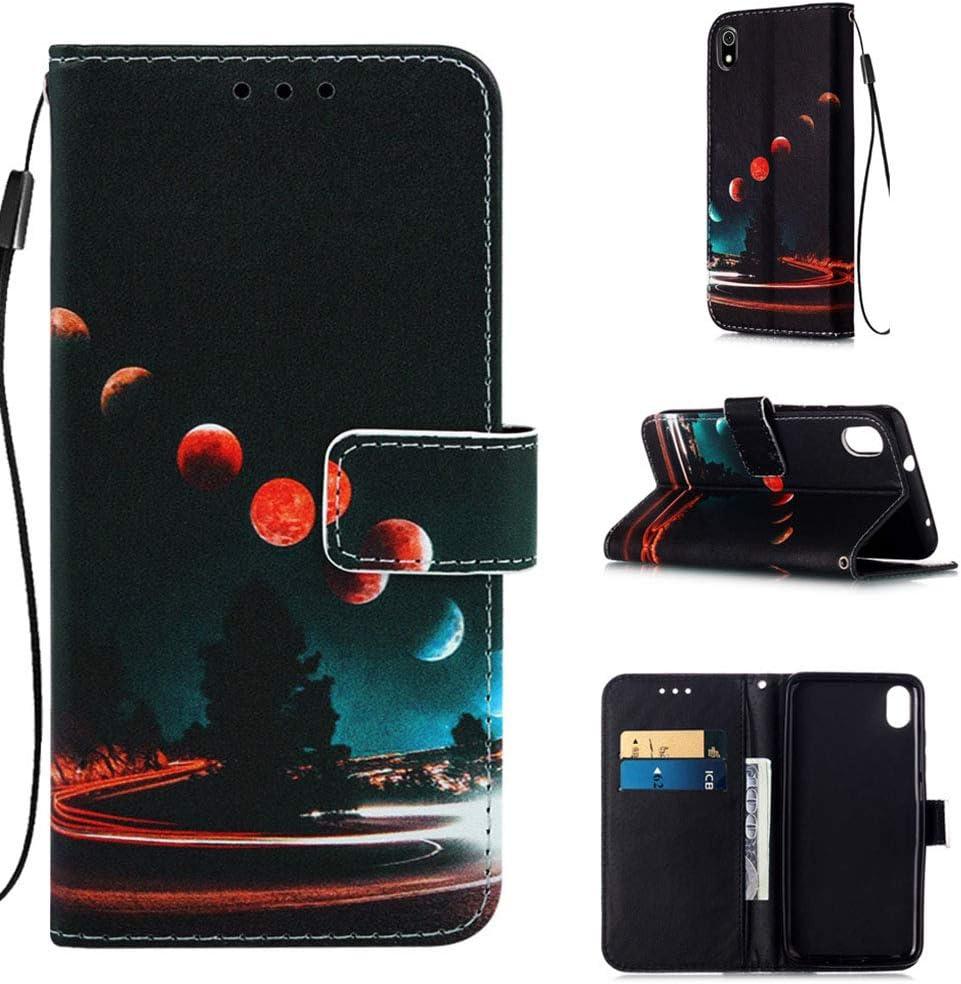 Careynoce Funda Xiaomi Redmi 7A,Colorido Patron PU Cuero Cubierta Suave Flip Case Cover con Cierre Magnético Función de Soporte Funda Carcasas para Xiaomi Redmi 7A - Planeta
