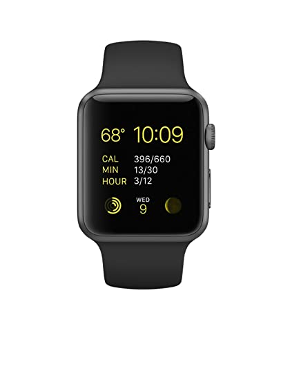 Amazon Com Apple Watch 42mm Space Gray Aluminum Black Sport Band