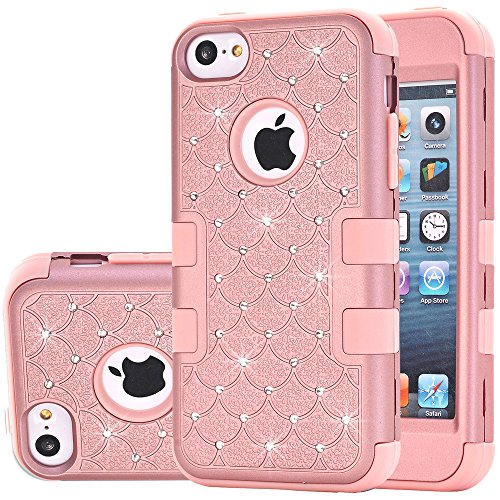 iPhone 5C Case,Auker Heavy Duty Dual Layer Bling Mermaids Scales Shockproof Impact Resistant Non Slip PC Rubber Hybrid Protective Tough Silicon Bumper Case Cover for iPhone 5C for Women/Men (Pink)