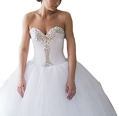 Mr.ace Homme Elegant Sweetheart vestidos de novia Crystal Beaded Tulle Ball Gown Wedding Dresses
