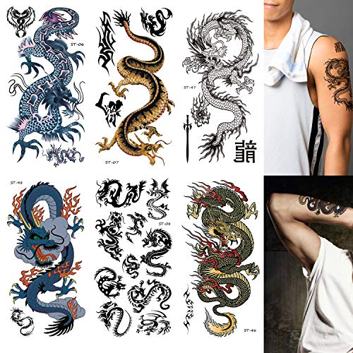 Supperb Mix Dragons Temporary Tattoo/6-pack (Classic Set) ()