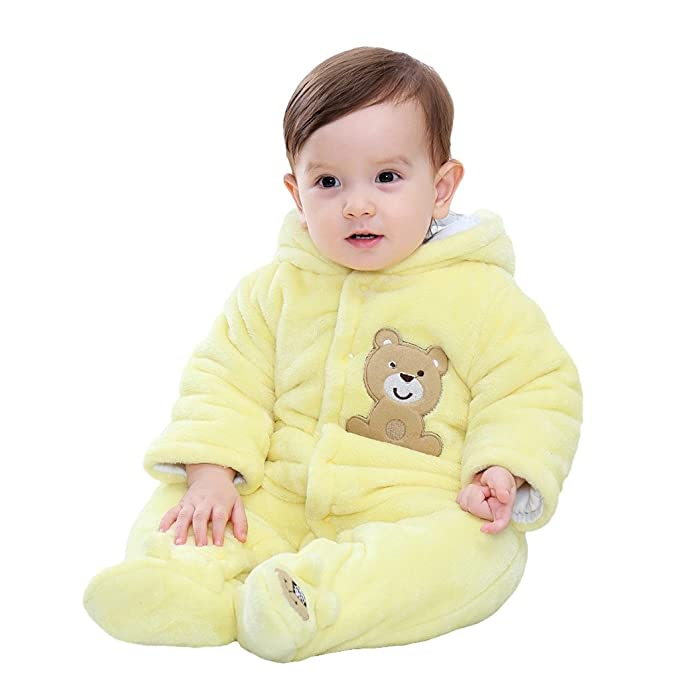 Infant Baby Boy Girls Winter Warm Hooded Romper Jumpsuit Cartoon Clothes Outfits