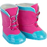 18 Inch Doll Snow Boots, Detailed Blue and Pink Snow Boots for Dolls