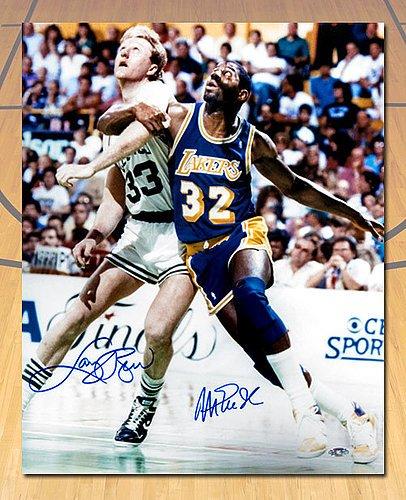 3938e7b3dae Image Unavailable. Image not available for. Color  Magic Johnson   Larry  Bird Dual Autographed Lakers vs Celtics ...