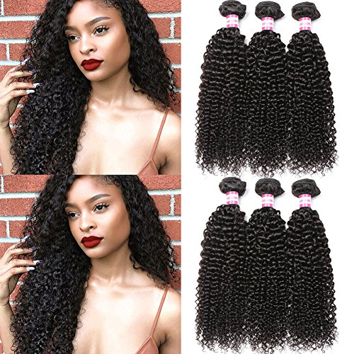 B&P Hair Virgin Brazilian Curly Hair Weave 3 Bundles 7A Unprocessed Brazilian Remy Human Hair Weave Extensions Natural Black Hair Color Can be Dyed and Bleached