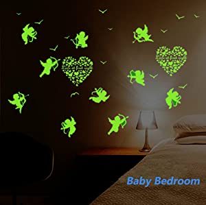 2 Sheet Valentine's Day Glow in the Dark Wall Decals Stickers for Windows, Wall or Car Deocration (Cupid of Love)