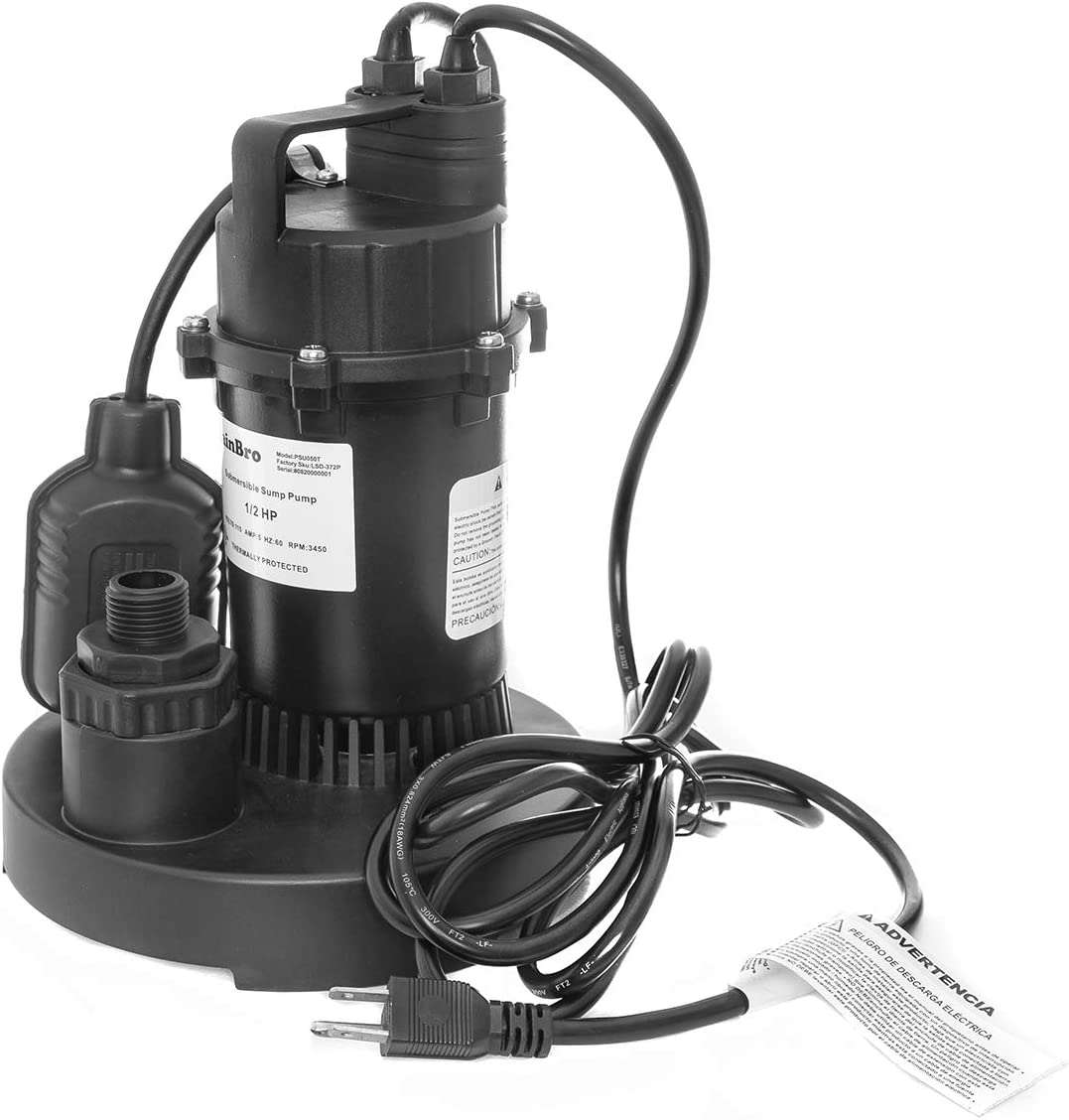RainBro 1/2 HP Thermoplastic Submersible Sump Pump with Tethered Float Switch, Model# PSU050T