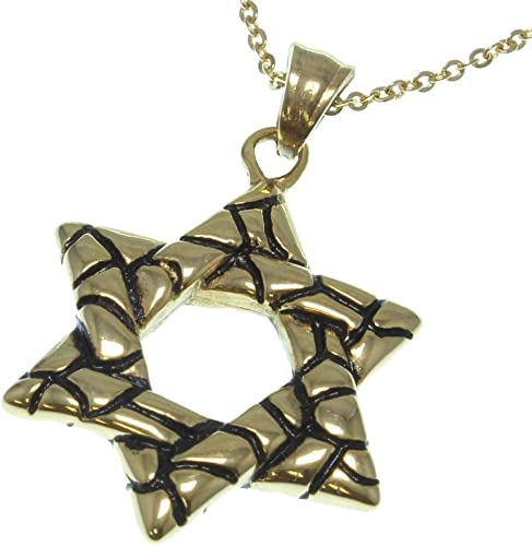 Gold Fused Chiseled Star of David Necklace 18-22 Chain