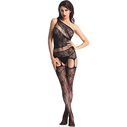 ee07eb0db Amoretu Women Lace Tights Crotchless Lingerie Suspender Fishnet Bodystocking