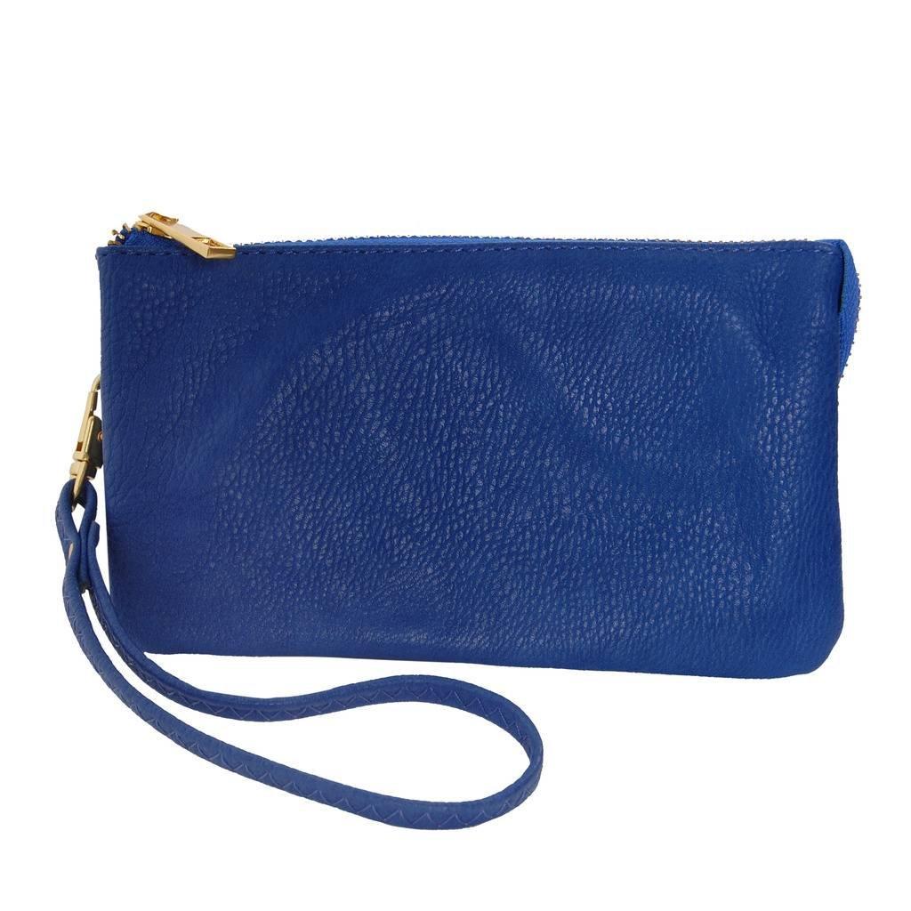 Humble Chic Vegan Leather Wristlet Wallet Clutch Bag - Small Phone Purse Handbag, Royal Blue, Cobalt