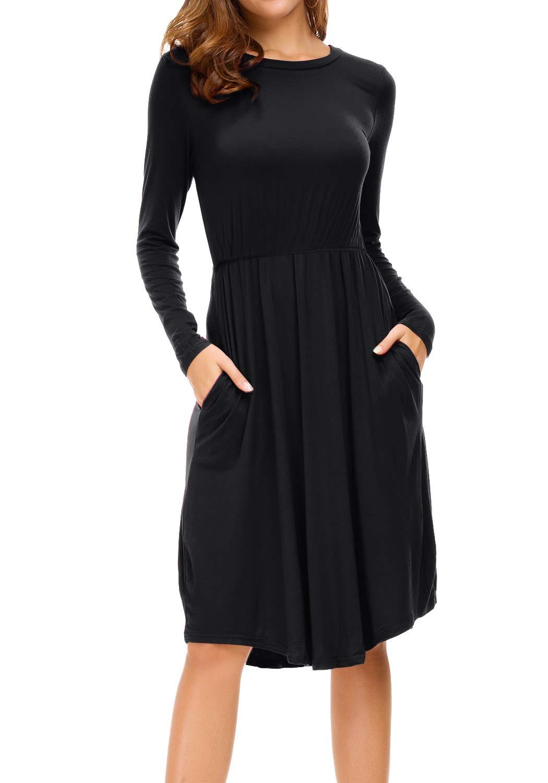 levaca Women Long Sleeve Pleated Pockets Loose Swing Causal Midi Dress Black L