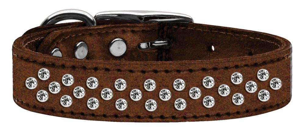 16\ Mirage Pet Products Sprinkles Clear Crystal Metallic Leather Bronze Dog Collar, 16