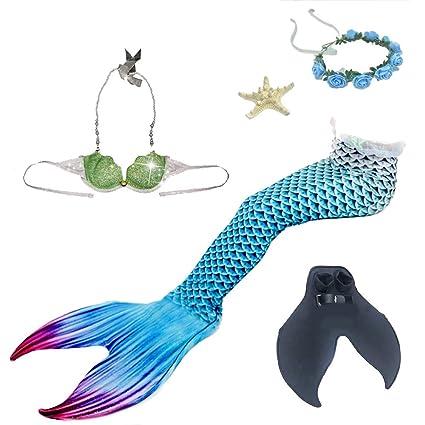 Traje de baño para Niña Colas de Sirena Brillante Shell Sujetador 5 Piezas Mermaid Suministros para