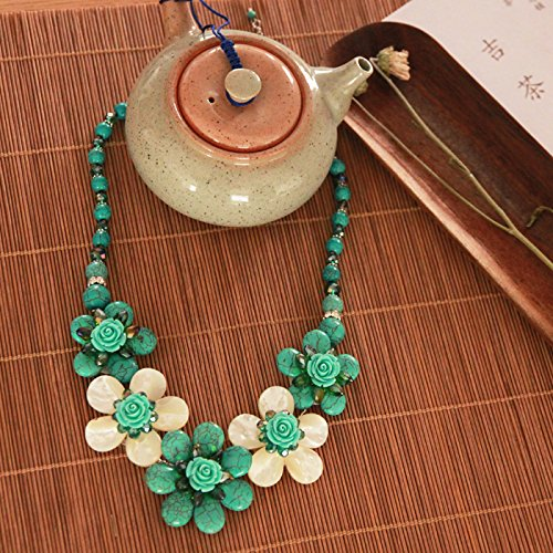 Philippine Shell Jewelry (Philippine_ jewelry natural turquoise shell Flower necklace Pendant white crystal turquoise necklace Pendant Retro Flower long sweater Chain)