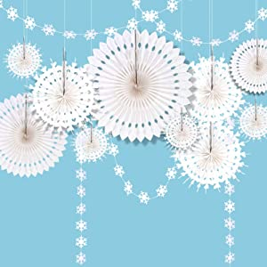 Decor365 Winter Wonderland Snowflake Party Decorations Hanging White Paper Fan Centerpieces Snowflakes Garlands Banner Decoration for/Frozen Birthday/ChristmasTree/New Year/Baby Shower/Wedding Party Supplies