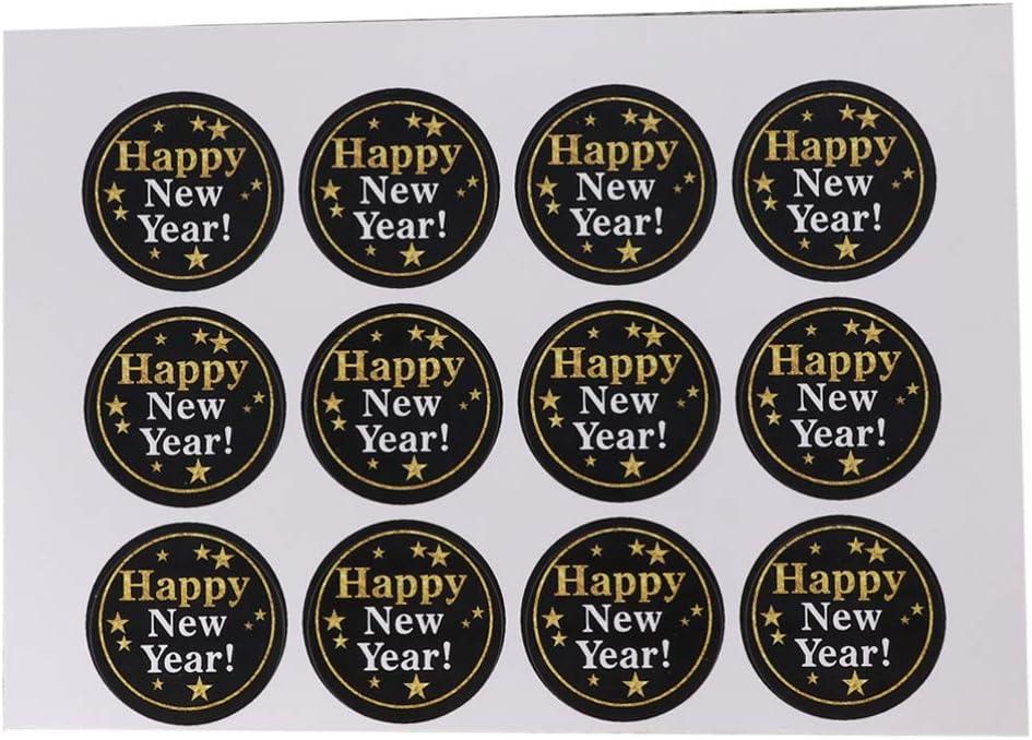 Amosfun - 120 pegatinas para regalo de Año Nuevo 2020, 10 hojas, papel, 120 unidades, M