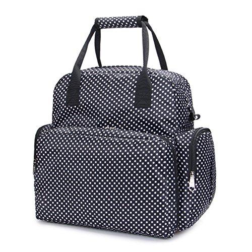 LCY gran capacidad bebé pañal bolsa de pañales con cambiador Black with Dots Black with Dots