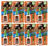 Gorilla Super Glue Gel, 15 Gram, Clear, (8 Pack)