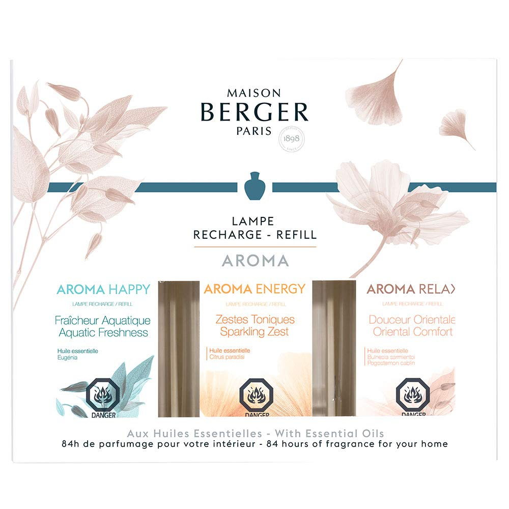 Lampe Berger Fragrance Trio Refill - Aroma Collection - For Home Fragrance Oil Diffuser - 3x6.08 Fluid Ounces - 3x180 milliliters - Aquatic Freshness, Oriental Comfort & Sparkling Zest by MAISON BERGER (Image #1)