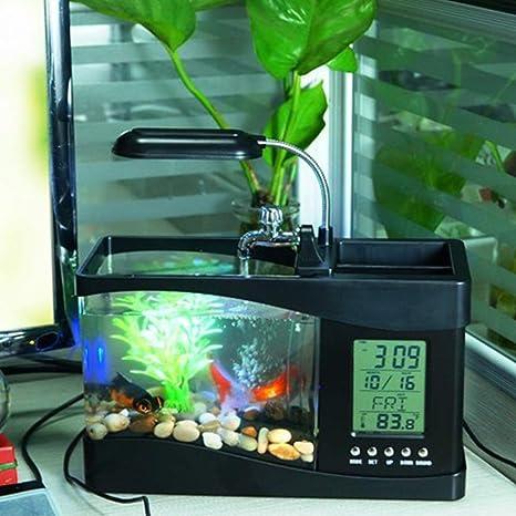 WSDF - Mini Tanque de Peces LED, luz de Escritorio multifunción para ...