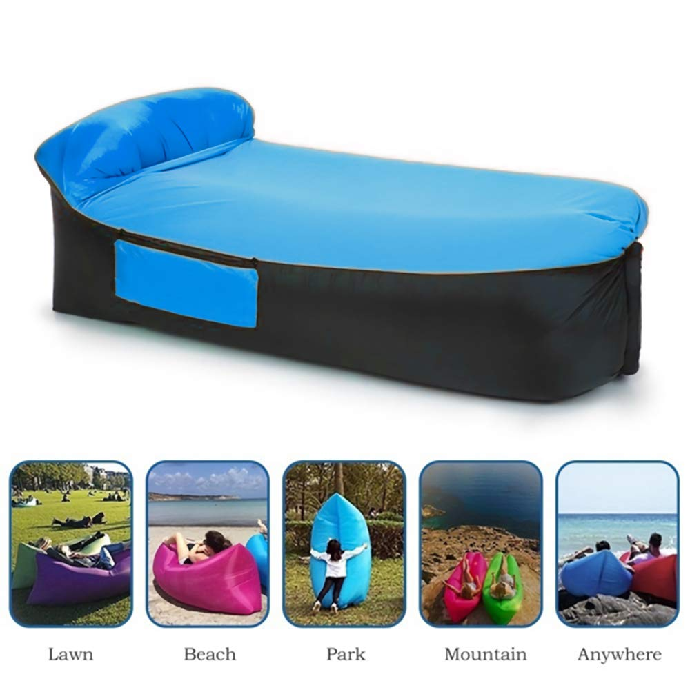 TATABACK Inflatable Lounger (Air Sofa,Hammock-Portable) Easy to Inflate Water Proof & Anti-Air Leaking Design Easy to Use Ideal GIF (Blue) by TATABACK
