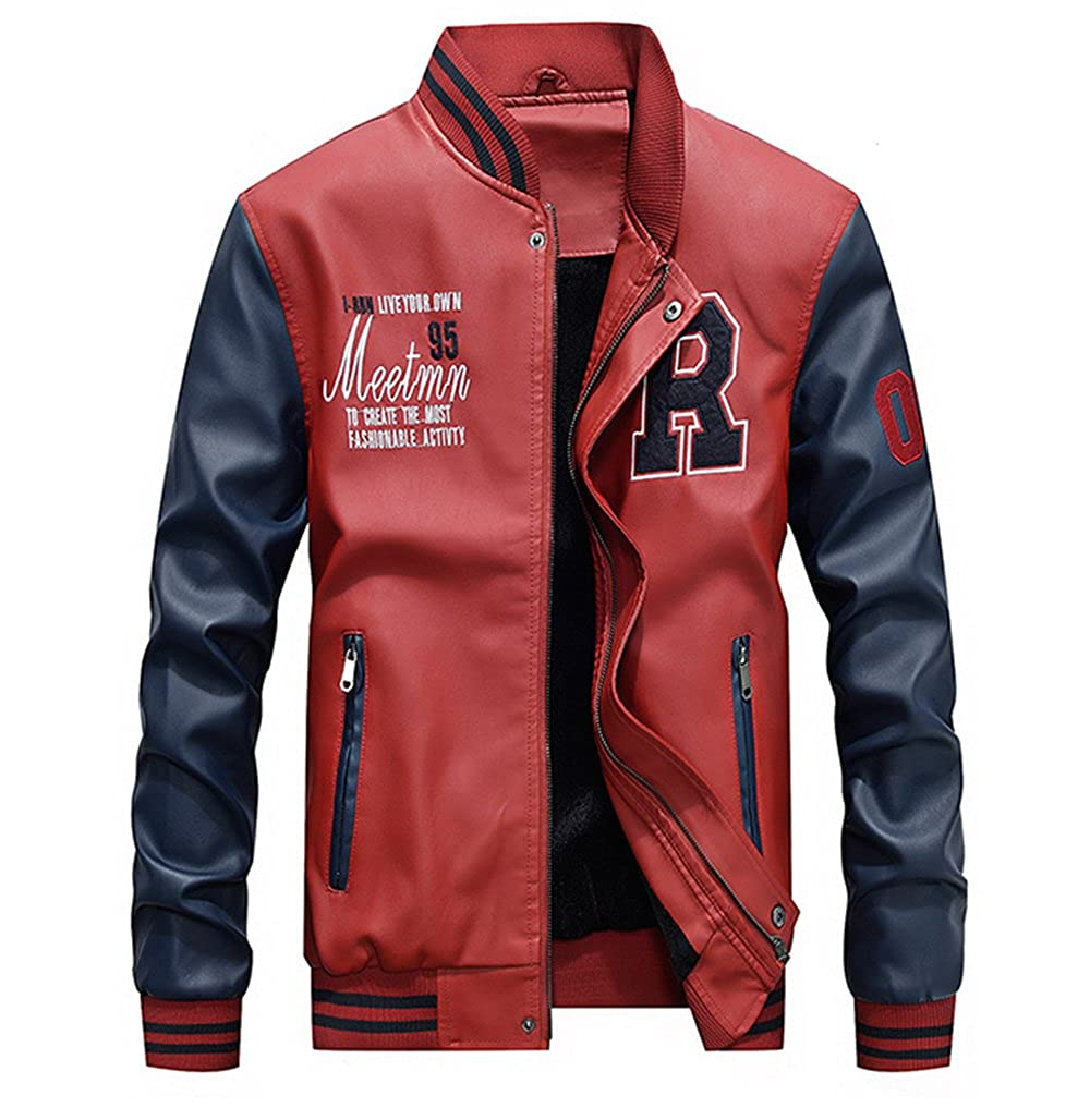 Lavnis Men's Faux Leather Jacket Casual Baseball Stand Collar Slim Fit Coat VGS806