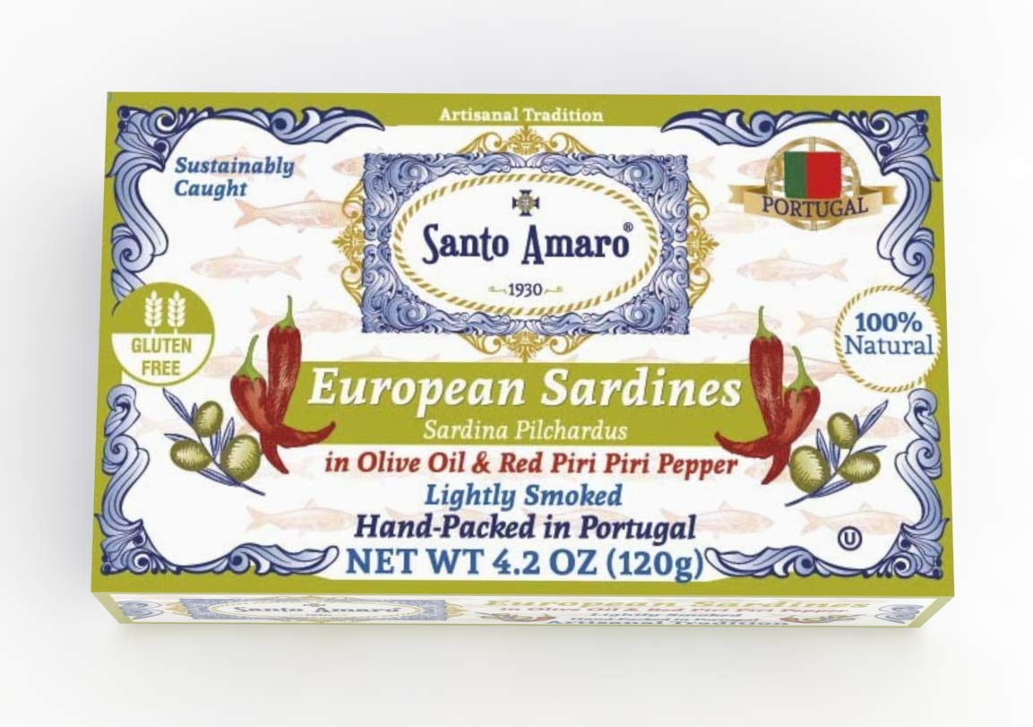 SANTO AMARO European Wild Sardines in Olive Oil & Piri Piri Pepper (12 Pack, 120g Each) Lightly Smoked - HOT AND SPICY! Peri Peri - Natural - Wild Caught - GMO FREE - Hand Packed in PORTUGAL - KETO by Santo Amaro