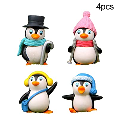 Anniston Kids Toys, 4Pcs Cute Winter Penguin Miniature Figurine DIY Bonsai Fairy Garden Ornament DIY Toys Perfect Fun Time Play Activity Gift for Boys Girls: Toys & Games
