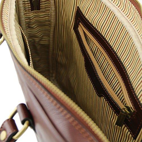 81412835 - TUSCANY LEATHER: PRATO - Elégante serviette pour femmes, pour portable IPad en cuir, marron foncé