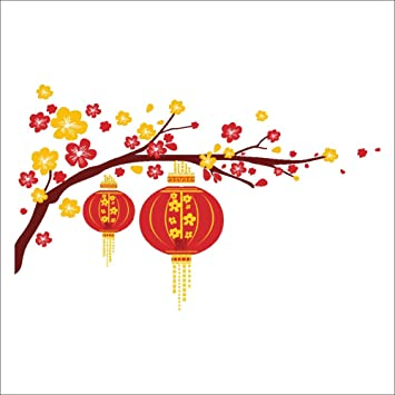 raylinedo christmas red color new year lanterns chinese traditional festival decoration removable wall stickers window sticker