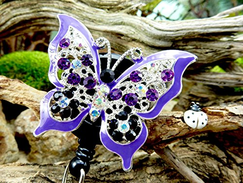 Butterfly Badge Reel Crystal Name Tag Clip Bling RN Retractable ID Holder Nurse Pinning Graduation Ceremony Gift Idea for Mom Teacher Rhinestone Jewelry Adorable Insect Bug Design Animal Accessory -