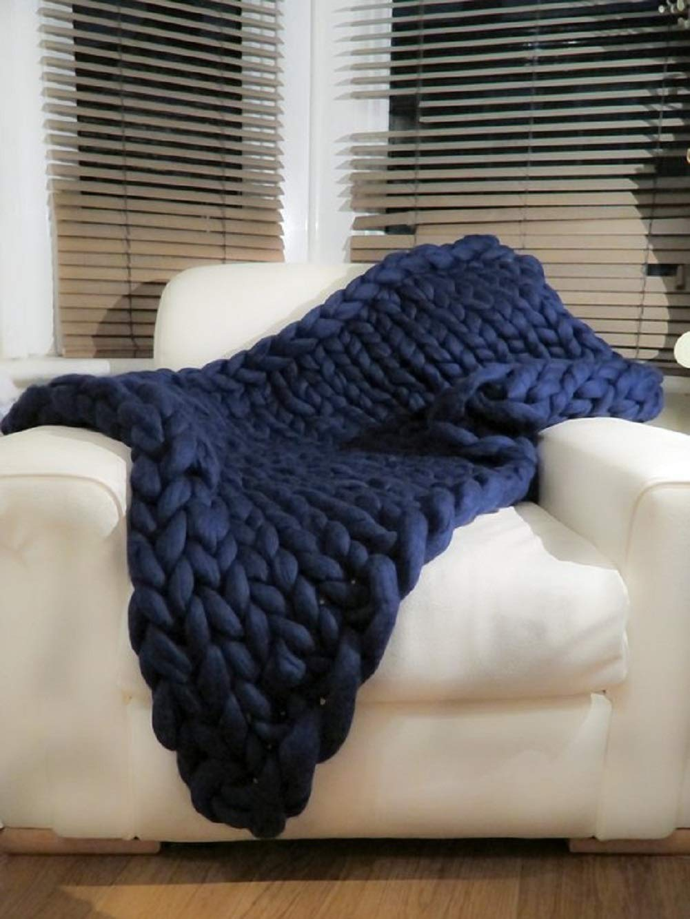 EASTSURE Bulky Knit Throw Chunky Sofa Blanket Hand-Made Pet Bed Chair Mat Rug,Navy,24x24 24x24