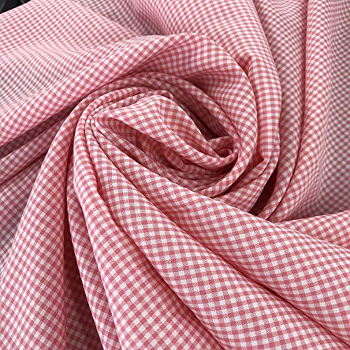 Amornphan 44 Inches Two Tones Pastel Color Small Grid Pattern Gingham Printed 100% Cotton Fabric Dress Home Decor Craft Drape by The Yard (Rose Pink) - Natural Twill Shirt
