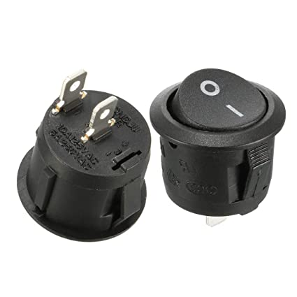 amazon com uxcell 10 pcs 2 terminals spst on off round boat rockerSpst Round Rocker Switch The Terminals Are Labeled For Easy Wiring #21