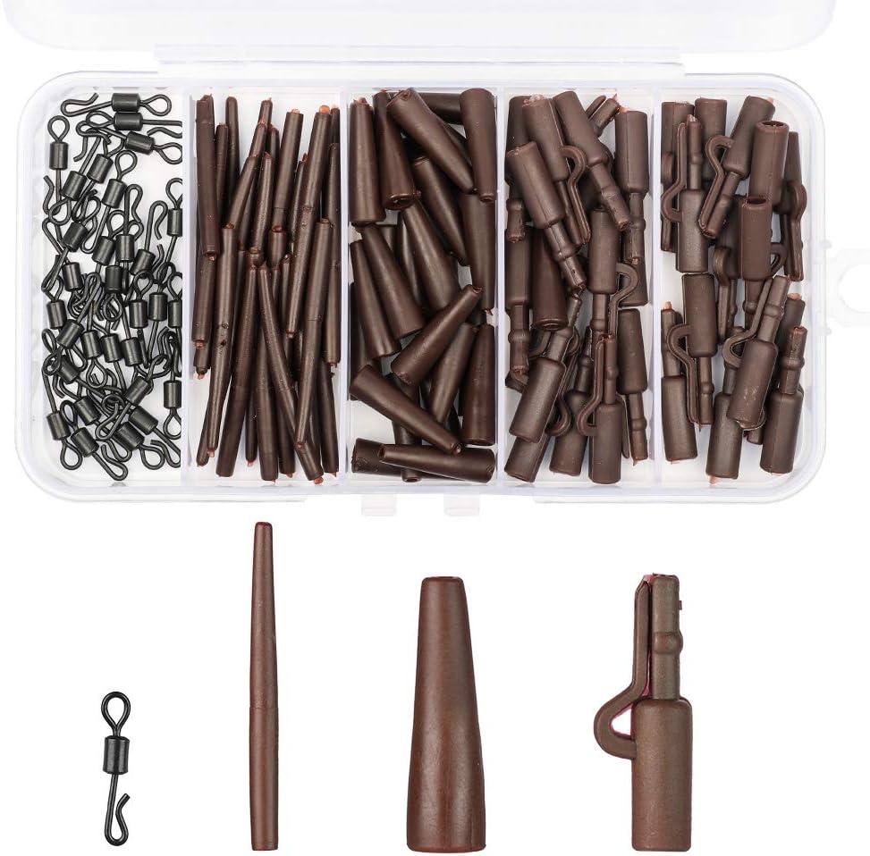 Gummi HXC Angelzubeh/ör-Set im europ/äischen Stil zum Karpfenangeln mit Sprungklemme Schnellwechsel-Drehgelenk mit Kunststoff-Box 120 St/ück kein Verheddern