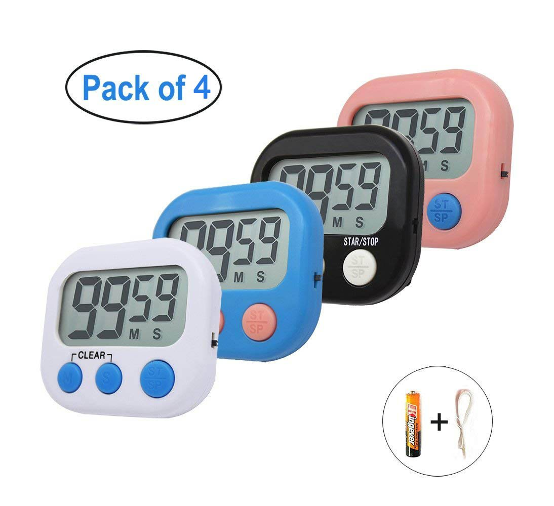 Kitchen Timer, BESTWYA Big Digits Loud Alarm Magnetic Backing Stand with Large LCD Display for Cooking Baking Sports Games Office (4 Pack,Battery Included)