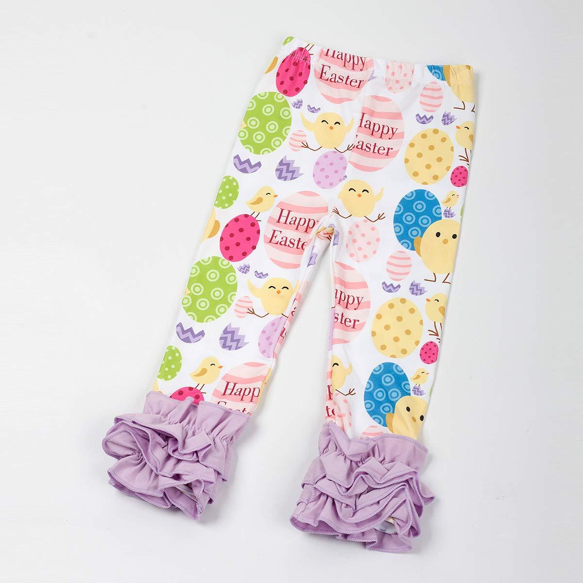 Slowera Little Girls Ruffle Leggings Baby Toddler Solid Color Flower Pants