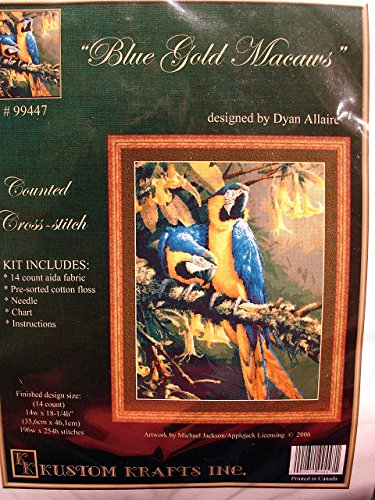 """Blue Gold Macaws Counted Cross-stitch Kit 14""""w X 18-1/4""""h #99447"""