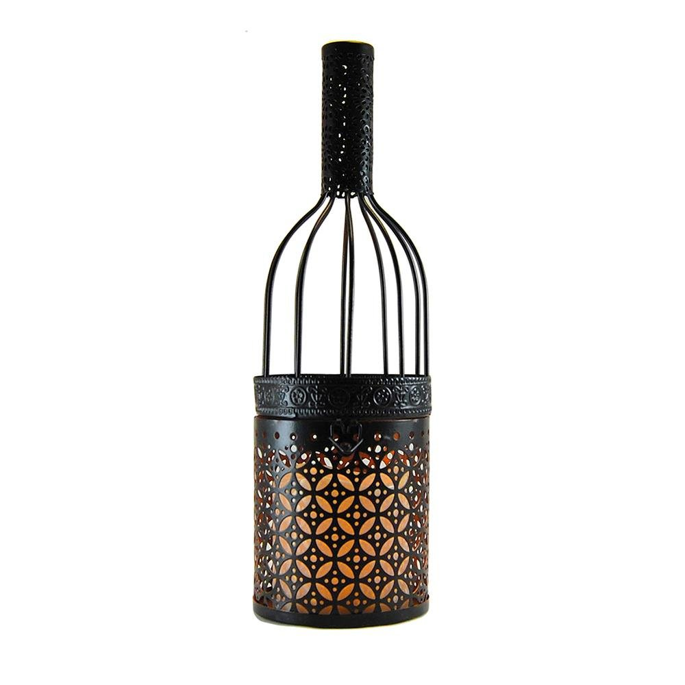 Lumabase Metal Lantern - Black Wine Bottle with Battery Operated Candle