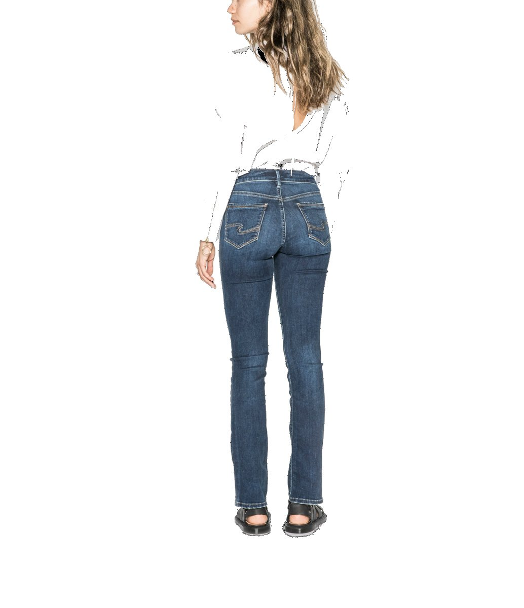 Silver Jeans Co. Women's Avery Curvy Fit High Rise Slim Bootcut, Dark Comfort Stretch, 30x33