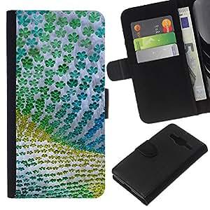 [Neutron-Star] Modelo colorido cuero de la carpeta del tirón del caso cubierta piel Holster Funda protecció Para Samsung Galaxy Core Prime [Diseño floral verde de la tela de Verano]