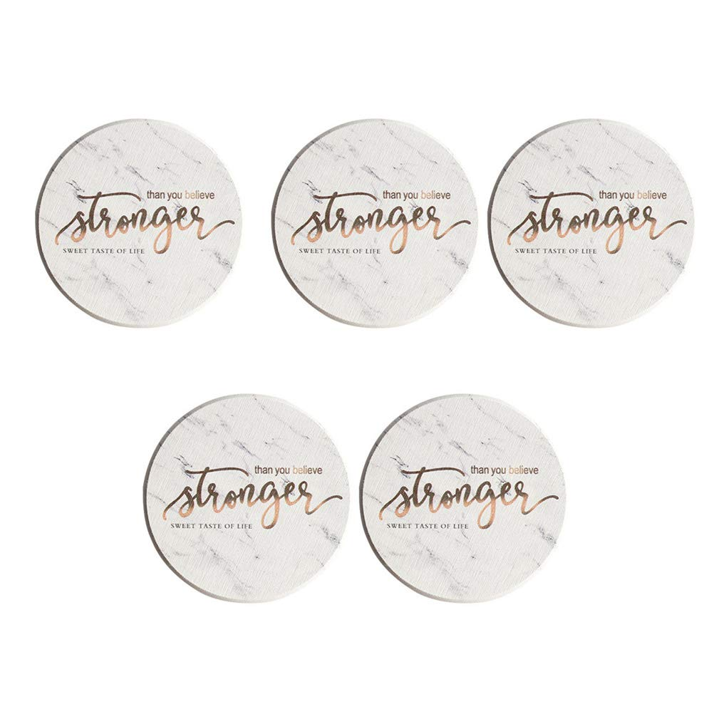 Vosarea Coasters for Drinks - Funny Absorbent Ceramic Stone Set of 6 White with Cork Backing and Holder Included, Protect Your Furniture from Spills, Scratches, Water Rings and Damage