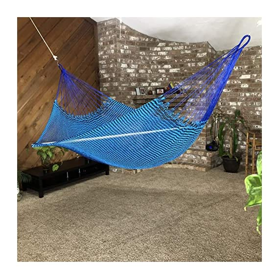 Ingalex New Rope Nylon Handmade Hammock Weather-Resistant Made in Venezuela Soft to The Touch Multicolored (Blue and Black) - hammock handmade in Venezuela color: Yellow, Length: 11.10 ft Aprox. X Width:7 ft. Weight Capacity: 300 lbs. Hammock is Weather Resistant and washable in washing machine - patio-furniture, patio, hammocks - 61WzkUjk%2BnL. SS570  -