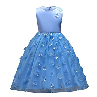 Kinder Jugendlich Mädchen Kleid Ulanda Festlich Kinderkleid  Blumensmädchenkleid Geburtstag Festzug Hochzeit Pailletten Prinzessin Kleid  Tutu Tulle de03daefc7