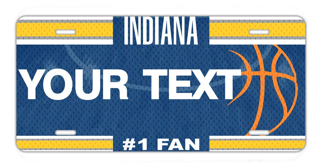 BRGiftShop Personalize Your Own Basketball Team Indiana Car Vehicle 6x12 License Plate Auto Tag