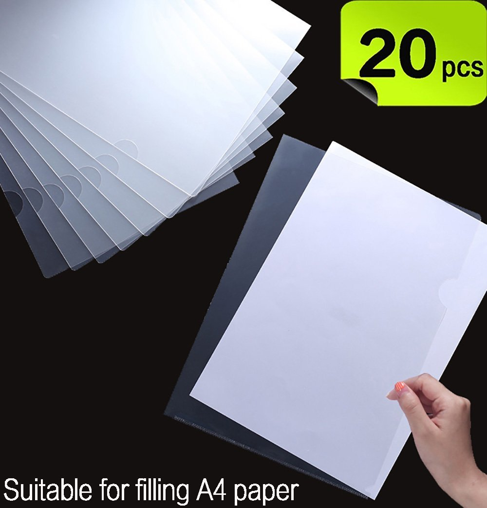 20 Pack Clear Document Folder L-type plastic folder Copy Safe Project Pocket US letter/A4 Size in Transparent Color Md trade