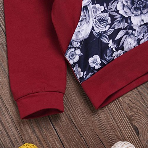 Nevera 2Pcs Toddler Girls Boys Flower Skull Bone Hooded Tops+Pants Outfits Set (Wine, 6M) by Nevera (Image #3)