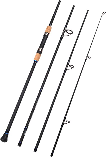 3-Piece Spinning Rod Heavy Fishing Portable Graphite Silver With Red 7/' Sports