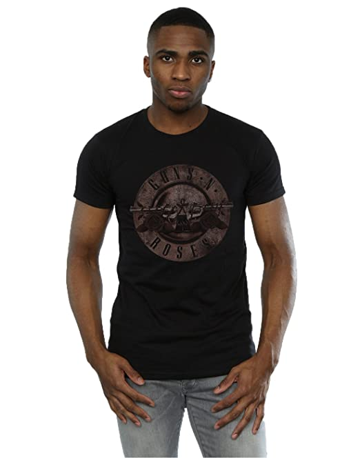 Guns N Roses Hombre Sepia Bullet Logo Camiseta: Amazon.es: Ropa y accesorios