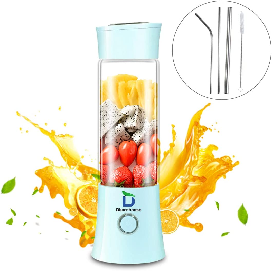 Diwenhouse Portable Blender USB Rechargeable Juicer Cup – Personal Size 16 oz Juice Glass Shakes Wireless BPA Free Blue Included Metal Reusable Straws